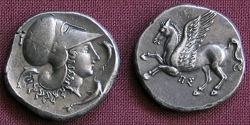 Corinth Stater Greece 400-350 BC fine silver replica coin