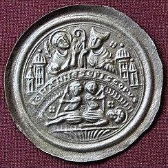 Johann von Merseburg Bracteat Germany 1151-1170 fine silver replica coin