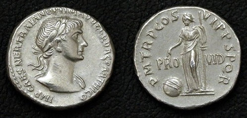 Trajan Denarius Rome 98-117 AD tin replica coin