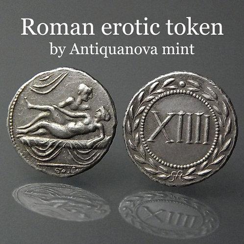 Erotic token Spintriae XIIII Rome 1st century AD tin replica coin