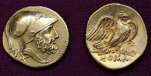 Rome republic 60 As Rome after 211 BC fine gold replica coin