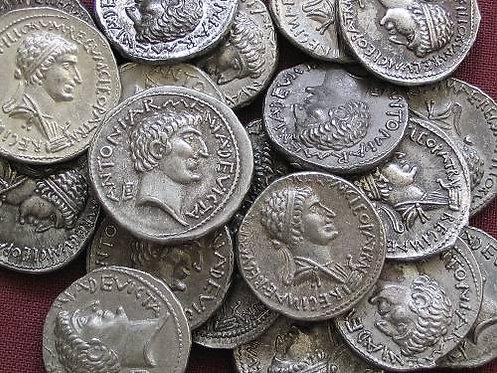 Marcus Antonius and Cleopatra Denarius Rome 34 BC tin replica coin