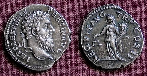 Pertinax Denarius Rome 193 AD fine silver replica coin