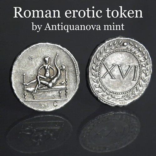 Erotic token Spintriae XVI Rome 1st century AD tin replica coin