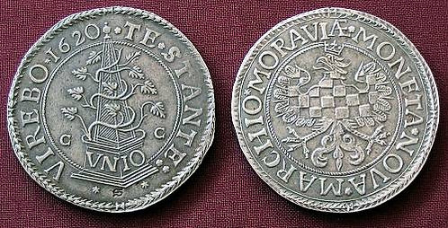 Moravian evangelical Estates Thaler Moravia Olomouc 1620-1621 fine silver replic