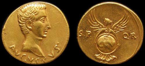 Augustus Aureus Rome 27 BC-14 AD fine gold replica coin
