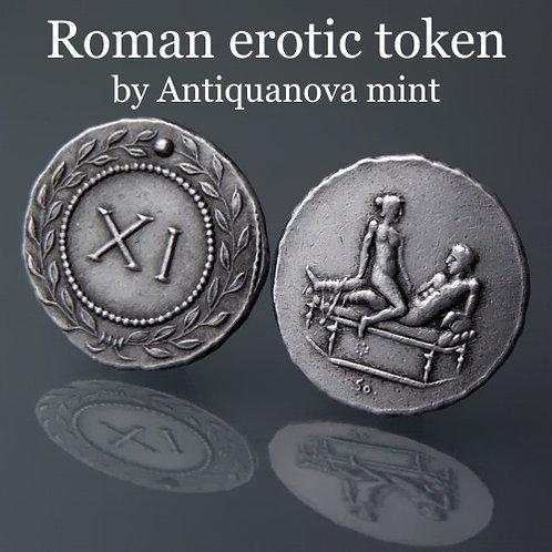 Erotic token Spintriae XI Rome 1st century AD tin replica coin