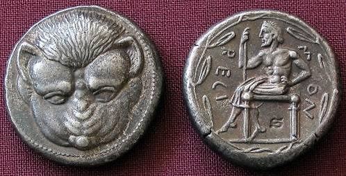 Rhegion Tetradrachm Greece 466-415 BC fine silver replica coin