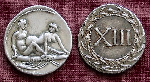 Erotic token Spintriae XIII Rome 1st century AD fine silver replica coin