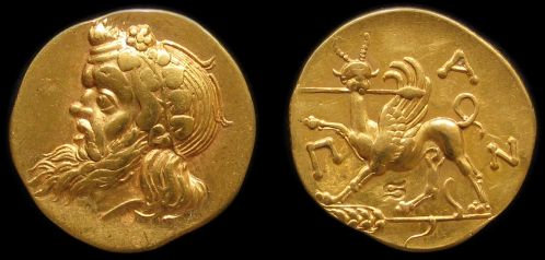 Pantikapaion Stater Greece 5th century BC fine gold replica coin