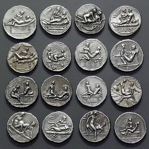 Spintriae erotic Roman tokens 16 pcs set of tin replica coins