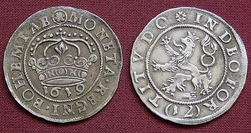 Czech evangelical Estates 12 Kreuzer Bohemia 1619 fine silver replica coin