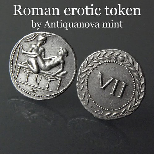 Erotic token Spintriae VII Rome 1st century AD tin replica coin