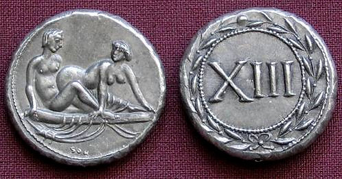 Erotic token Spintriae XIII Rome 1st century AD tin replica coin
