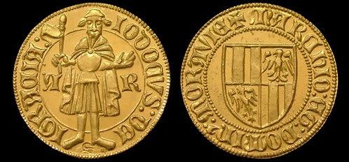 Iobst of Luxembourg Ducat Moravia Brno 1375-1411 fine gold replica coin