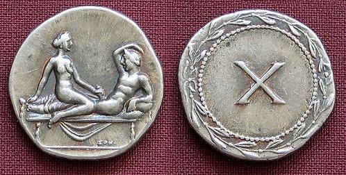 Erotic token Spintriae X Rome 1st century AD fine silver replica coin
