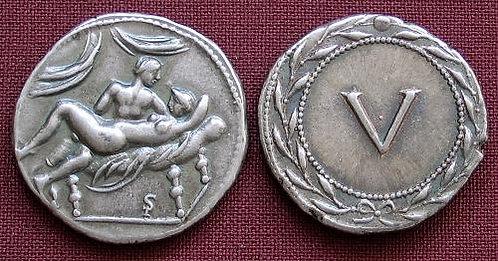 Erotic token Spintriae V Rome 1st century AD fine silver replica coin