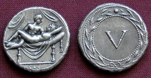 Erotic token Spintriae V Rome 1st century AD tin replica coin
