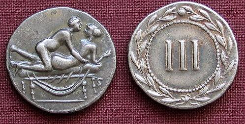 Erotic token Spintriae III Rome 1st century AD fine silver replica coin