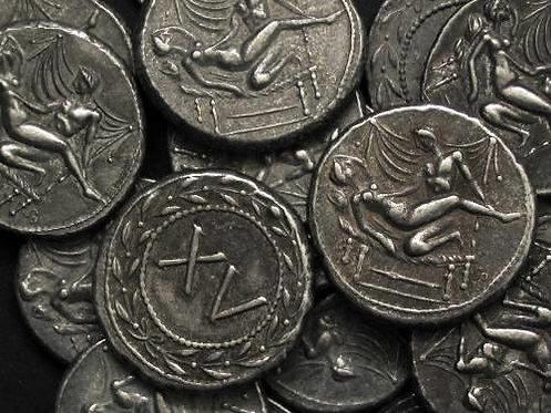 Erotic token Spintriae XV Rome 1st century AD tin replica coin