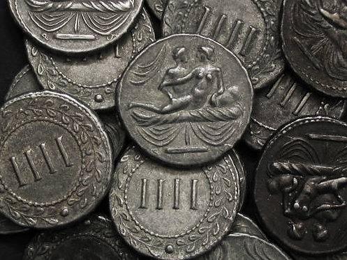 Erotic token Spintriae IIII Rome 1st century AD tin replica coin