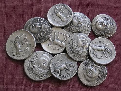 Larissa Drachm Greece 350-325 BC tin replica coin