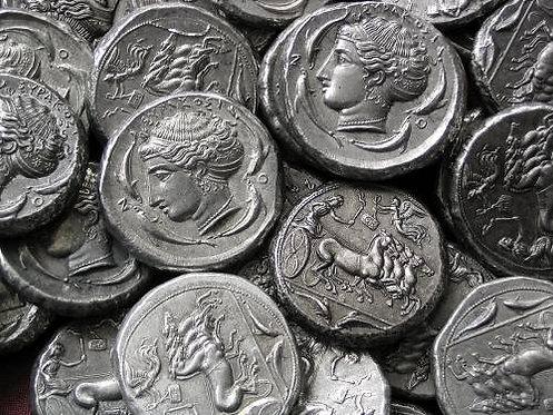 Syracuse Tetradrachm Greece circa 410 BC tin replica coin