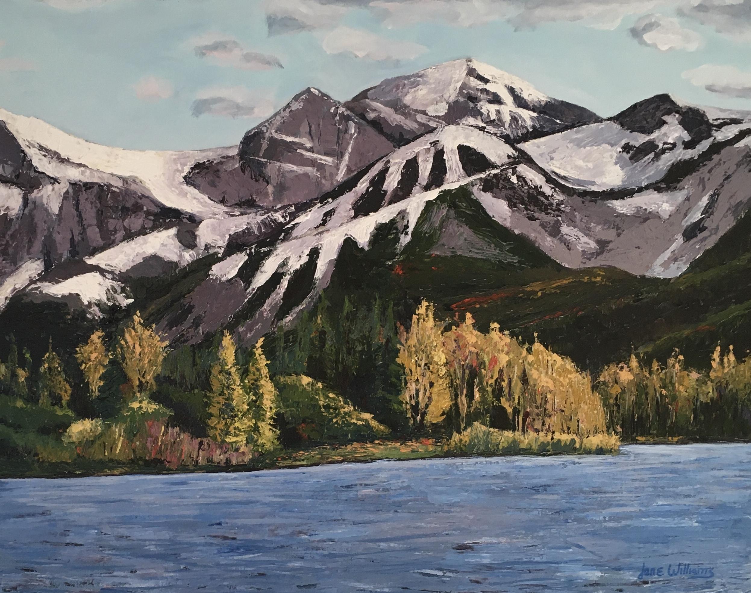 Pallet knife painting Fall at the Lake