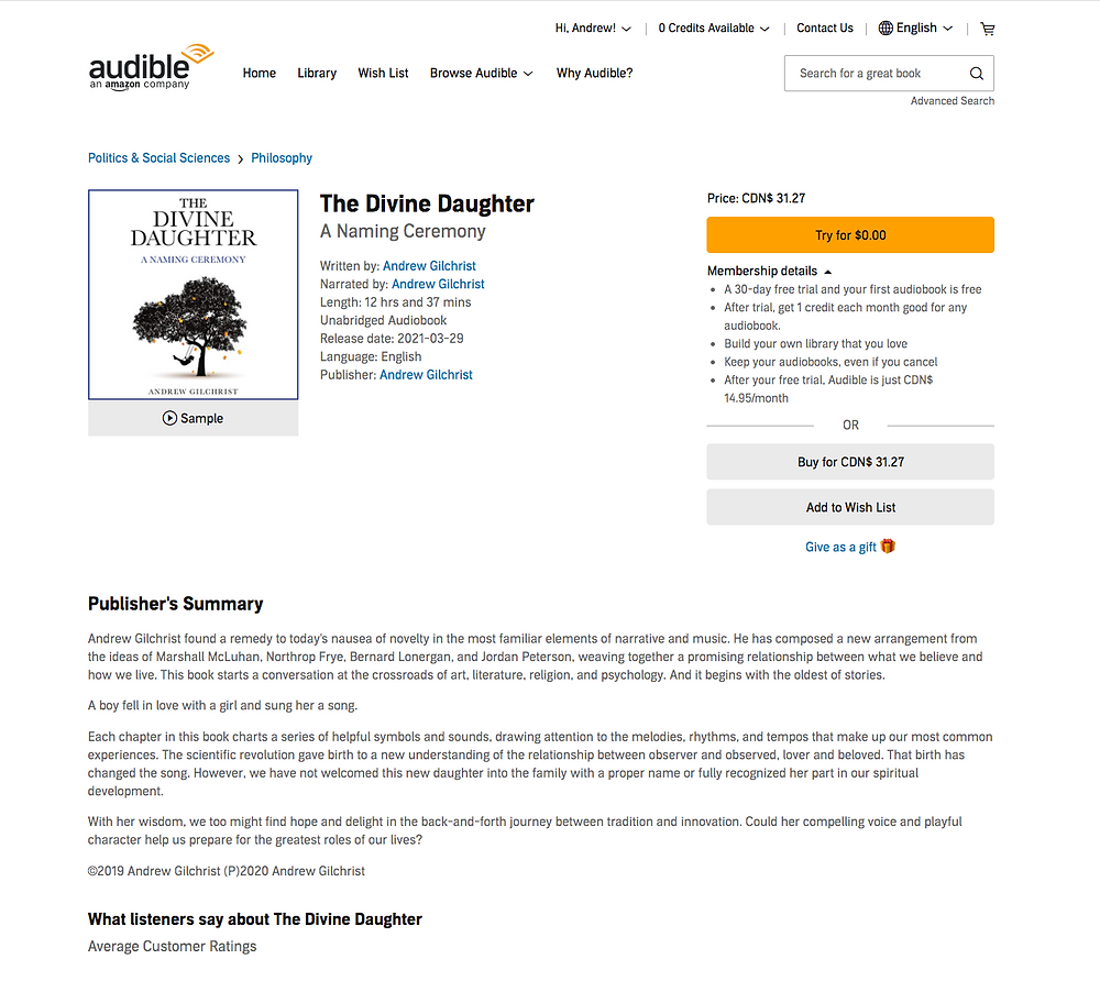 The Divine Daughter on Audible - Screen Shot