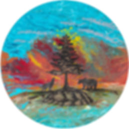 tree bear wolf turtle round canvas.jpg