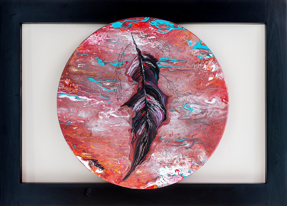 Debra Vincent - Abstract Feather in Floating Background