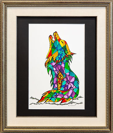 Stained Glass Wolf, Original Pen & Ink,