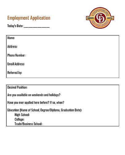 Employment Application - Coopersburg Din