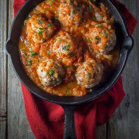 Oven Baked Italian Meatballs with Marinara Sauce