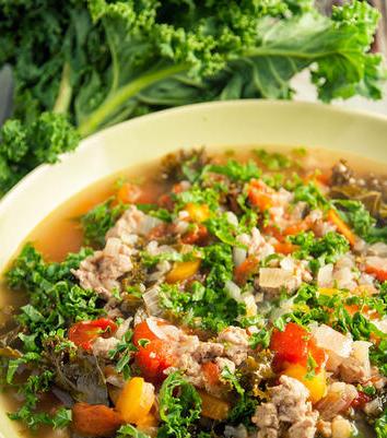 Chicken, Kale, & Cauliflower Soup
