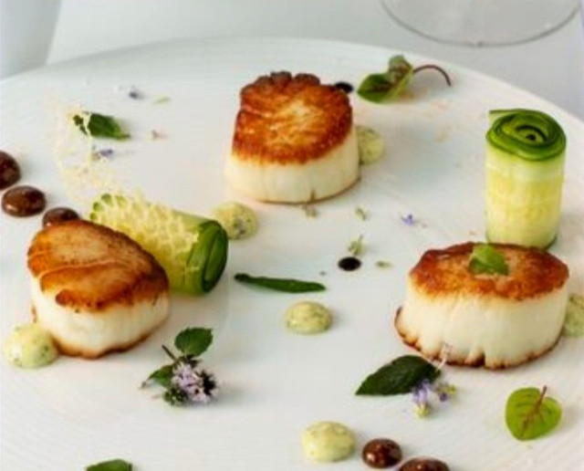 Great British Chefs Scallops with cucumber, lime and baby leaf
