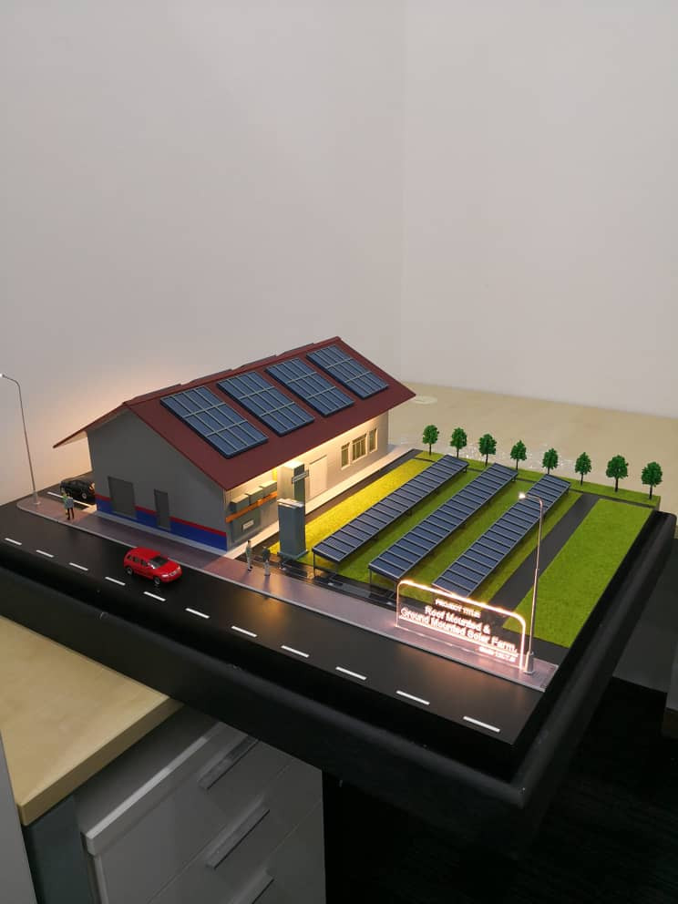 indication of the solar farm layout which includes the main building, soler panels and the farm's landscape