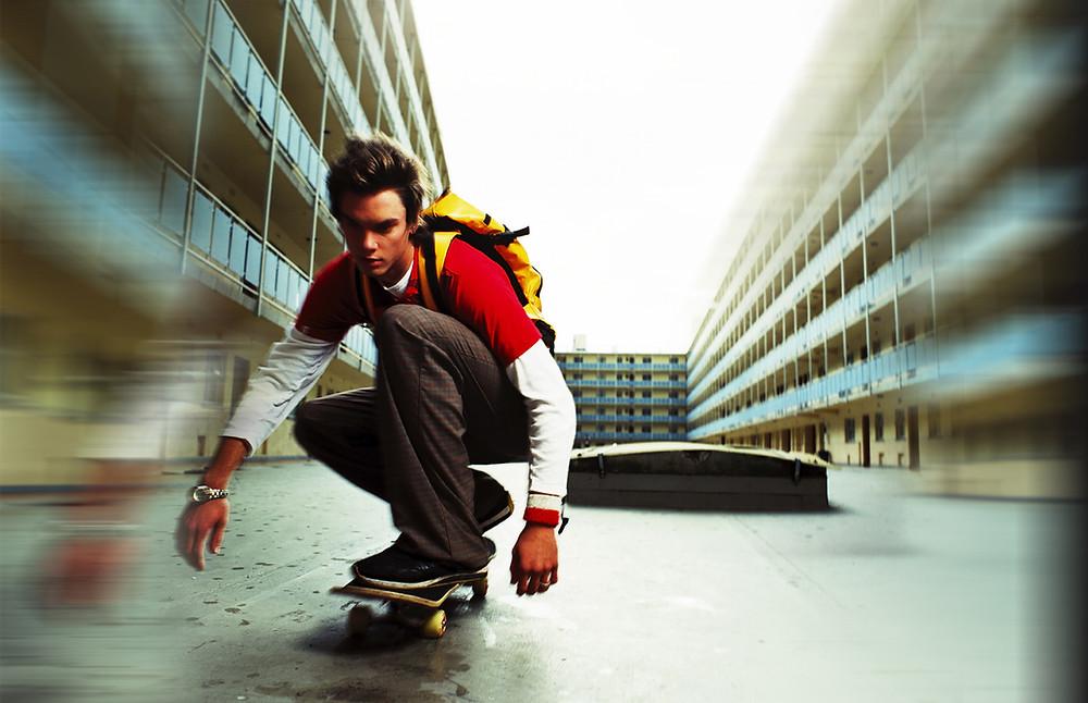teen skateboarding
