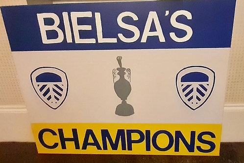 'BIELSA'S CHAMPIONS'  hand painted canvas. 80 x 61cm