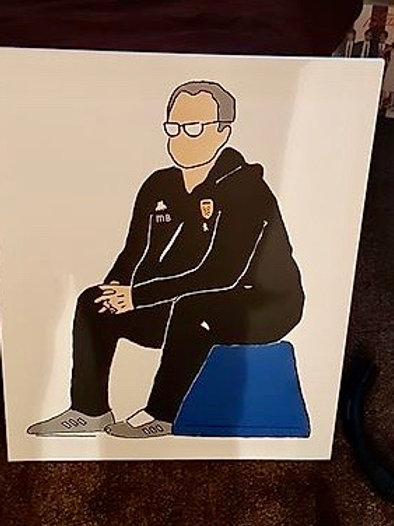 'BIELSA ON HIS BUCKET' hand painted canvas. 76 x 61cm