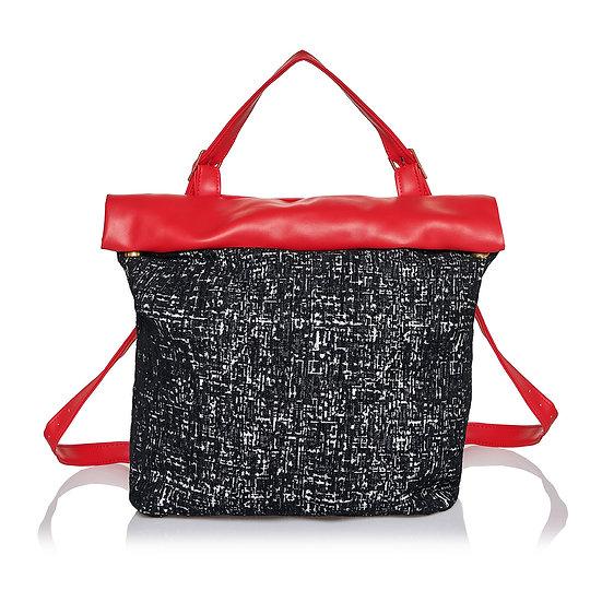 Χειροποίητη Τσάντα SquareR-Red Tweed