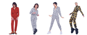 4 people in Jump suits each in different patterns and colors includingpolka dots, camouflage,