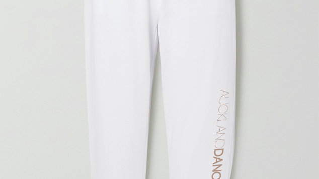 ADC WHITE TRACKPANTS WITH ROSEGOLD LOGOS