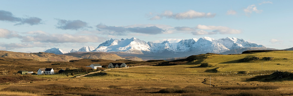 The Cuillins with Foxwood on Skye in the foreground