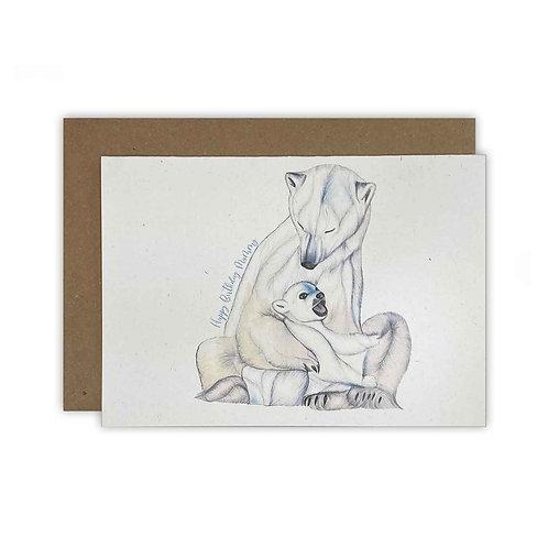Polar Bear Mummy Birthday Card