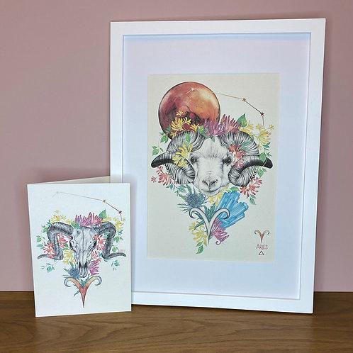 Aries Zodiac Print and Card Set