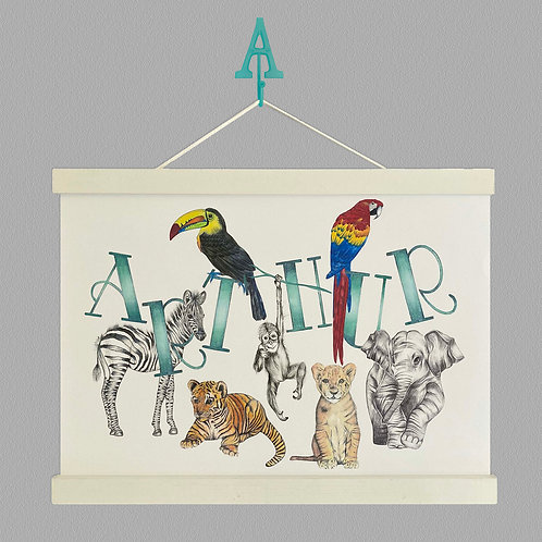 Personalised Jungle Animals Name Print