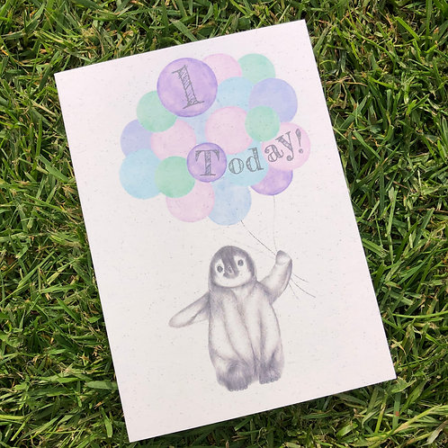 1st Birthday Penguin Card