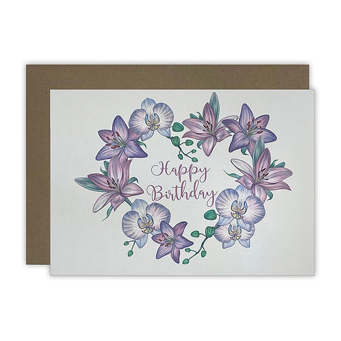 Lily & Orchid Birthday Card