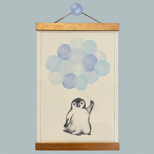 Little Penguin Blue Balloon Print